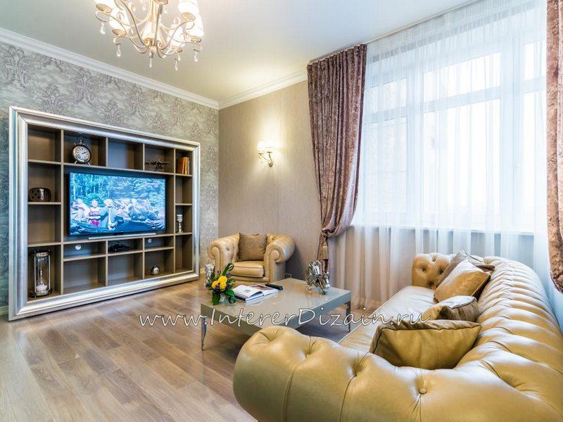 Интерьер гостиной с диваном Честерфилд