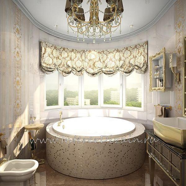 Дизайн интерьера ванной комнаты с круглой ванной