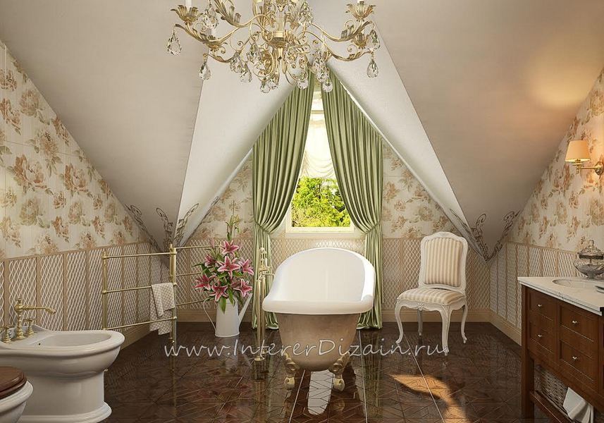 Просторная ванная комната с ванной посередине