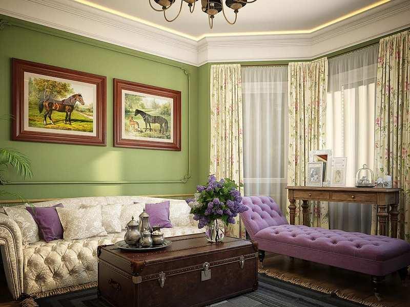 Интерьер гостиной в зеленом цвете