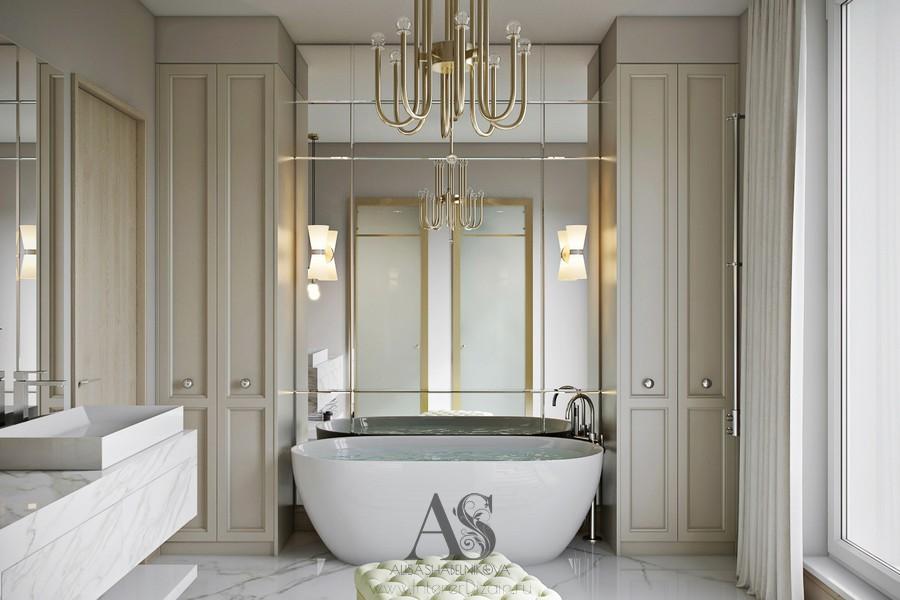 Овальная ванна в интерьере ванной комнаты