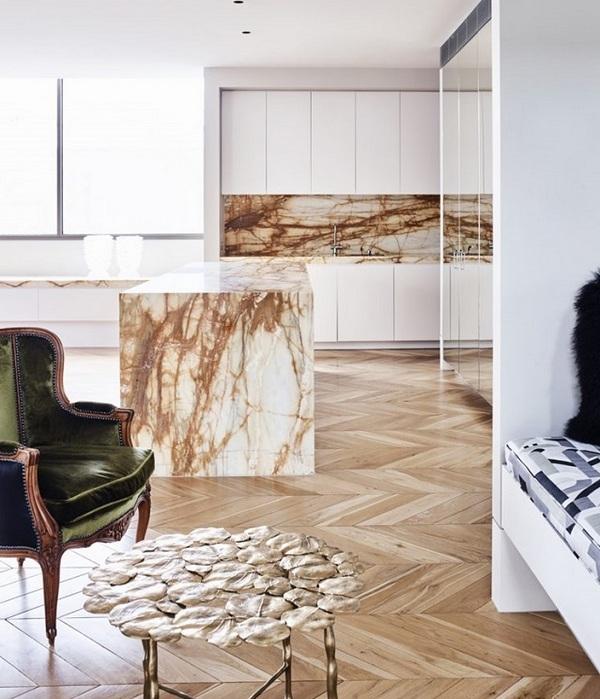 Мрамор в дизайне кухни: актуальная элегантность